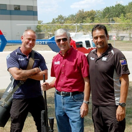 Elite Tactical Unit: S.W.A.T. Team Leaders Terry Schappert (Left), MidwayUSA founder and CEO Larry Potterfield, Adam Hamon (Right)