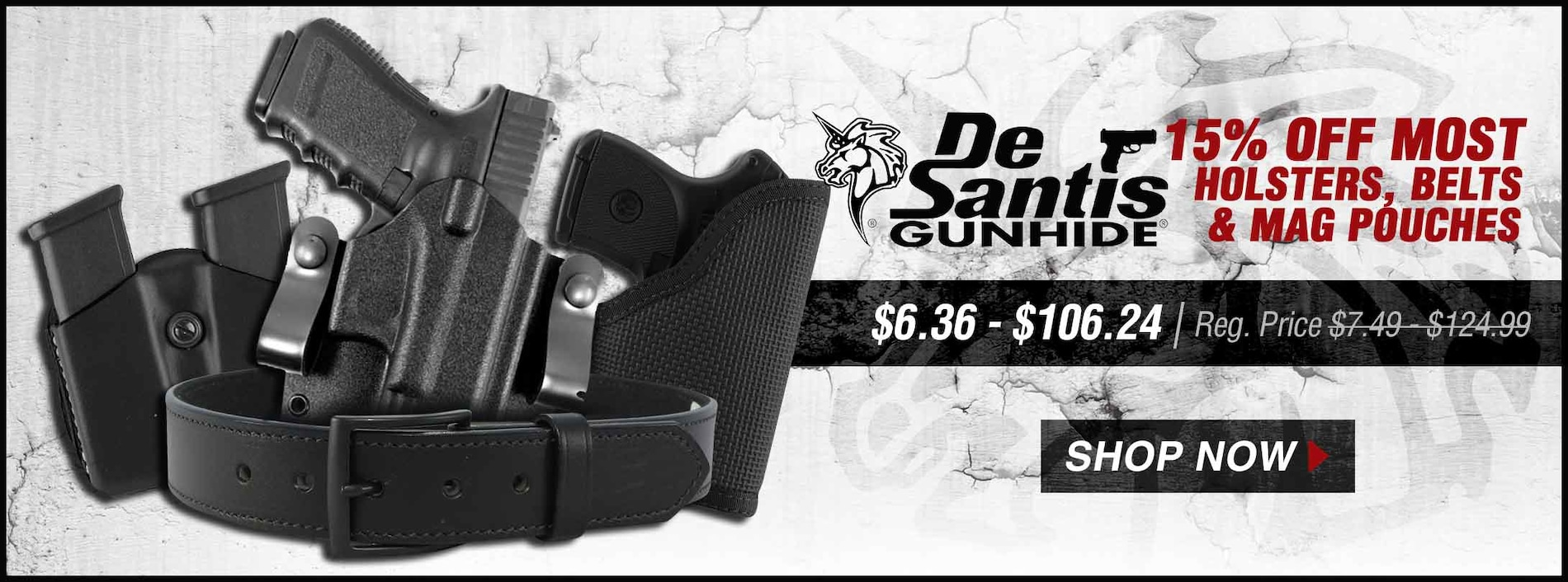 15% Off Most DeSantis Holsters, Belts & Mag Pouches
