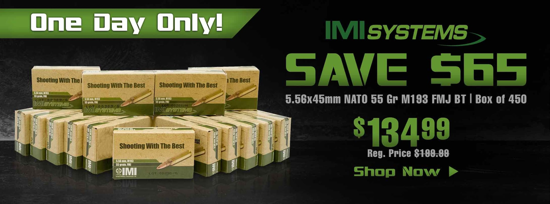 Save $65 on IMI 5.56x45mm 55 Gr M193 Box of 450