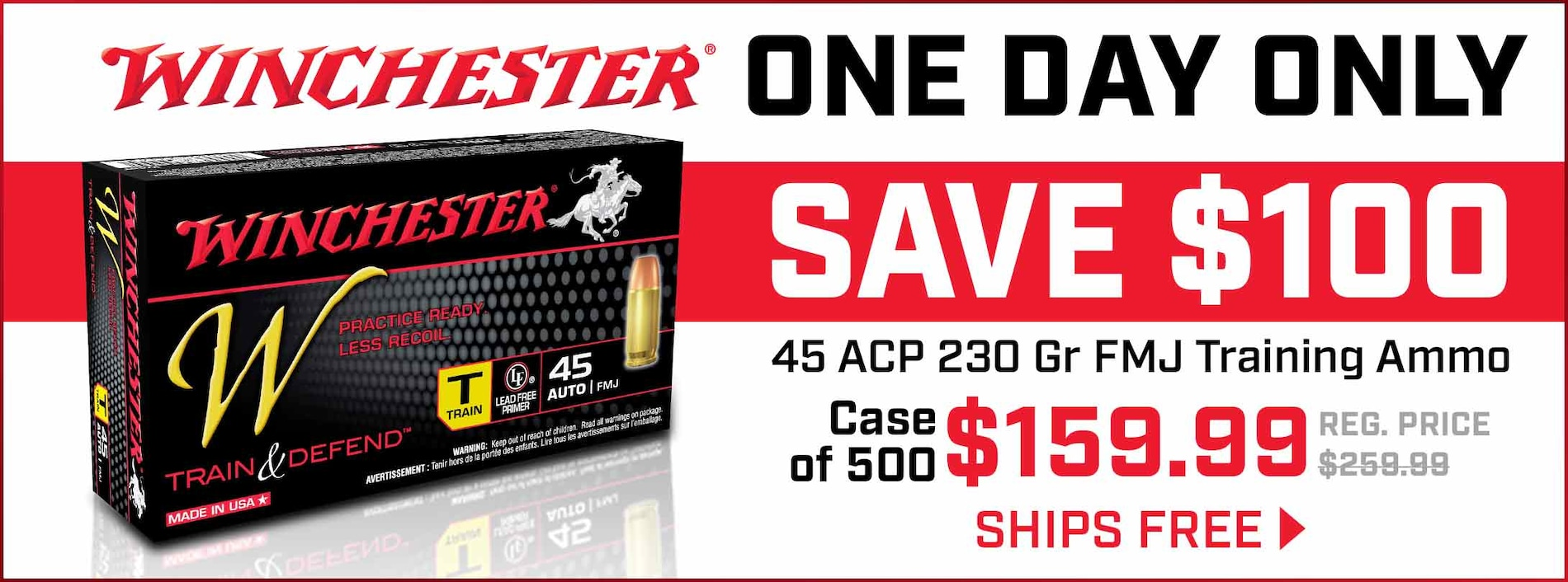 1 Day Only! Save $100 & Free Shipping on Winchester 45 ACP Ammo