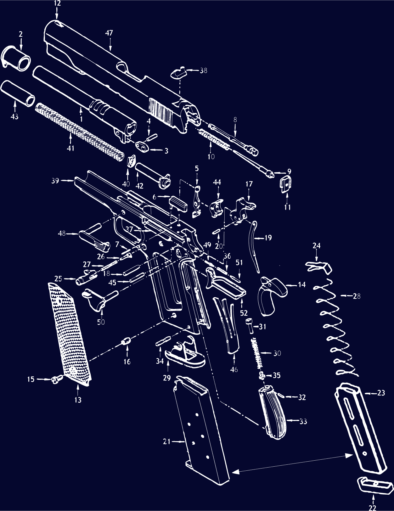 1911 Schematic - Gun Diagrams, Gun Parts | MidwayUSA on handgun concepts, handgun diagrams, handgun power, handgun components, handgun prototypes, handgun information, handgun parts, handgun dimensions, handgun accessories, handgun drawings, handgun illustrations, handgun blueprints, handgun safety,