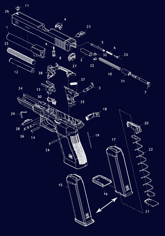 Glock Pistol Schematic - Exploaded Gun Diagrams, Gun Parts