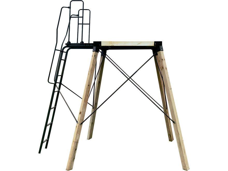 Hawk EZ Elevation Platform Brackets with Adjustable Ladder Kit Steel Black