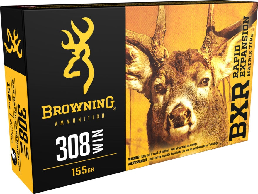 Browning BXR Rapid Expansion Ammunition 308 Winchester 155 Grain Matrix Tip