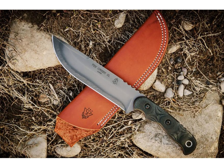"TOPS Knives Tex Creek XL Fixed Blade Knife 6.13"" Drop Point 1095 High Carbon Alloy Blad..."