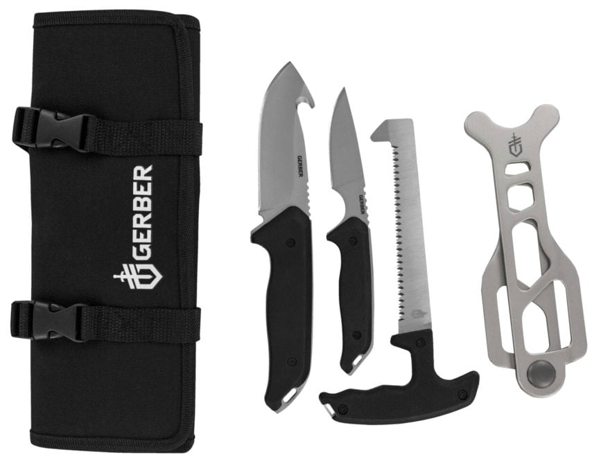 Gerber Moment Field Dress Kit 4 Piece Fixed Blade Gut Hook, Caping Knife, Bone Saw and ...