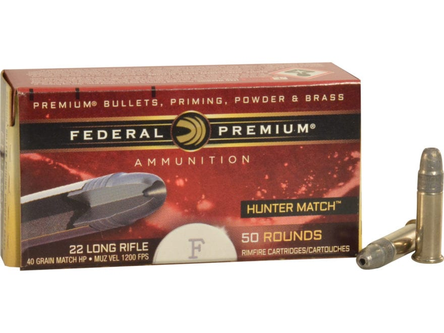 federal premium hunter match ammo 22 long rifle high mpn 720 500