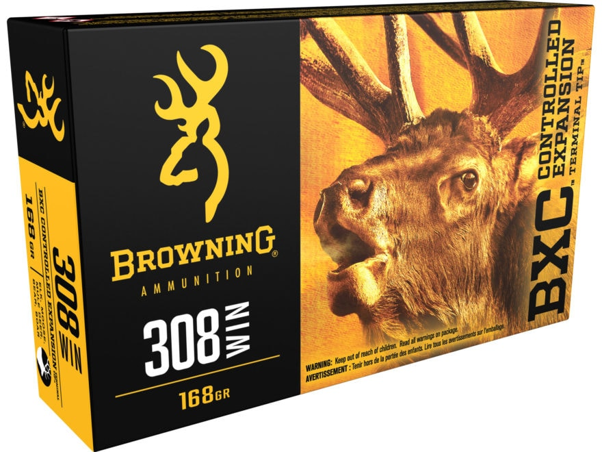 Browning BXC Controlled Expansion Ammunition 308 Winchester 168 Grain Terminal Tip Box ...