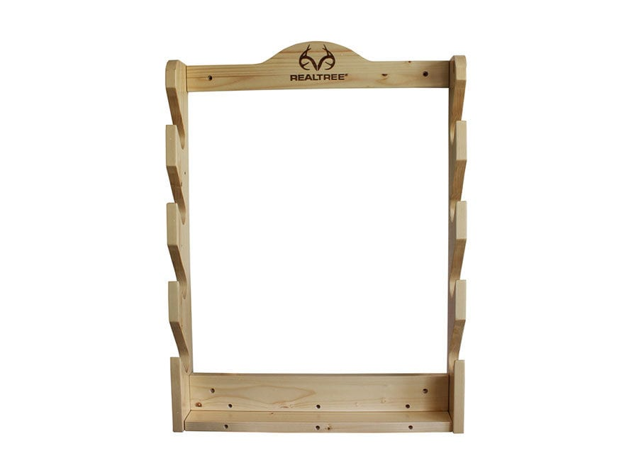 Rush Creek Creations Realtree 4 Gun Wall Rack Solid Pine