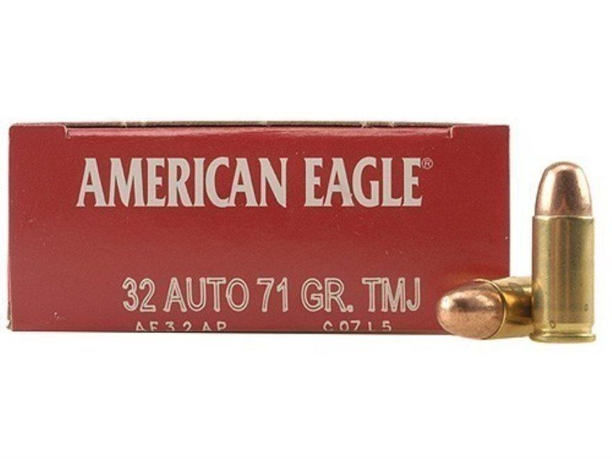 Federal American Eagle Ammunition 32 ACP 71 Grain Total Metal Jacket
