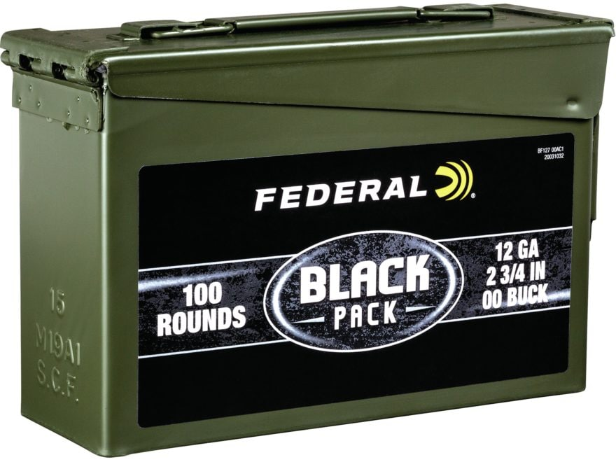 "Federal Black Pack Ammunition 12 Gauge 2-3/4"" Buffered 00 Buckshot 9 Pellets Ammo Can o..."