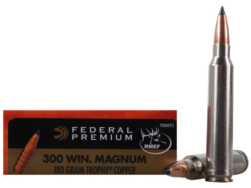 Federal Premium Vital-Shok Ammunition 300 Winchester Magnum 180 Grain Trophy Copper Tip...