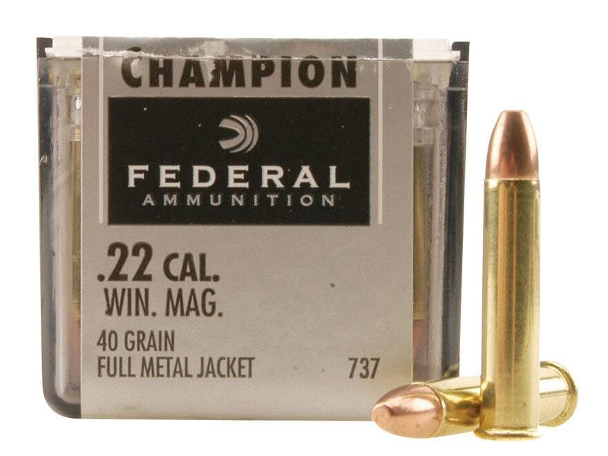 Federal Champion Target Ammunition 22 Winchester Magnum Rimfire (WMR) 40 Grain Full Met...