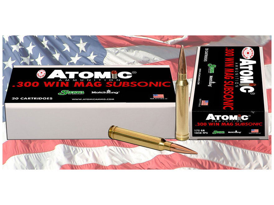 Atomic Ammunition 300 Winchester Magnum Subsonic 175 Grain Sierra MatchKing Hollow Poin...