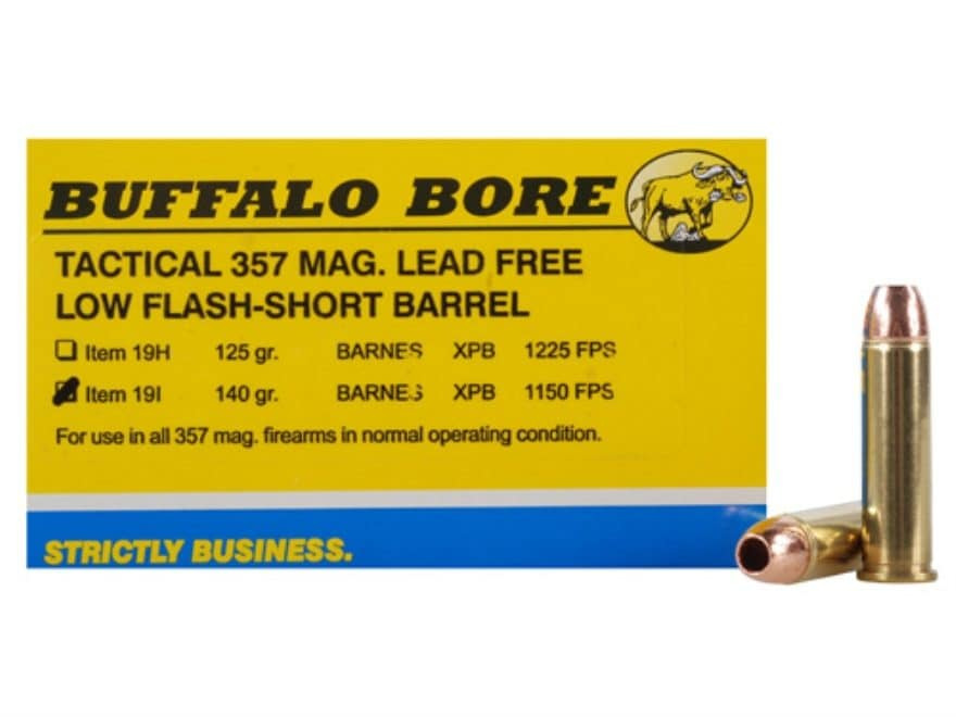 Buffalo Bore Ammunition 357 Magnum Short Barrel 140 Grain Barnes TAC-XP Hollow Point Lo...
