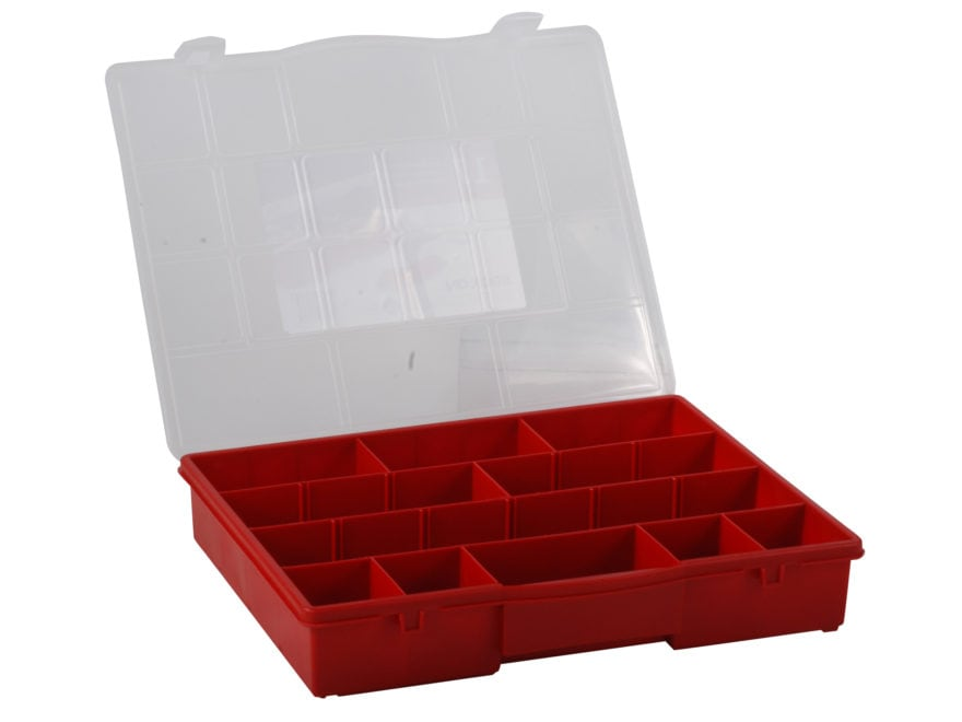 Attirant Stack On Parts Storage Organizer 17 Compartment Red With Clear Lid