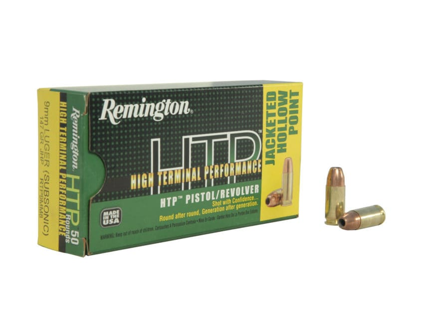 Remington High Terminal Performance Ammunition 9mm Luger 147 Grain Jacketed Hollow Poin...