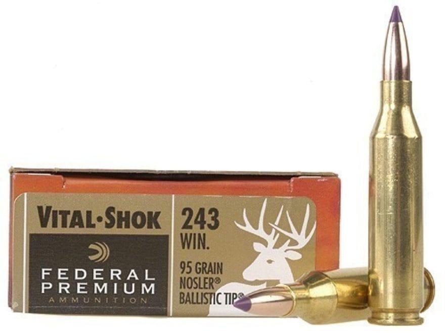 Federal Premium Vital-Shok Ammunition 243 Winchester 95 Grain Nosler Ballistic Tip Box ...