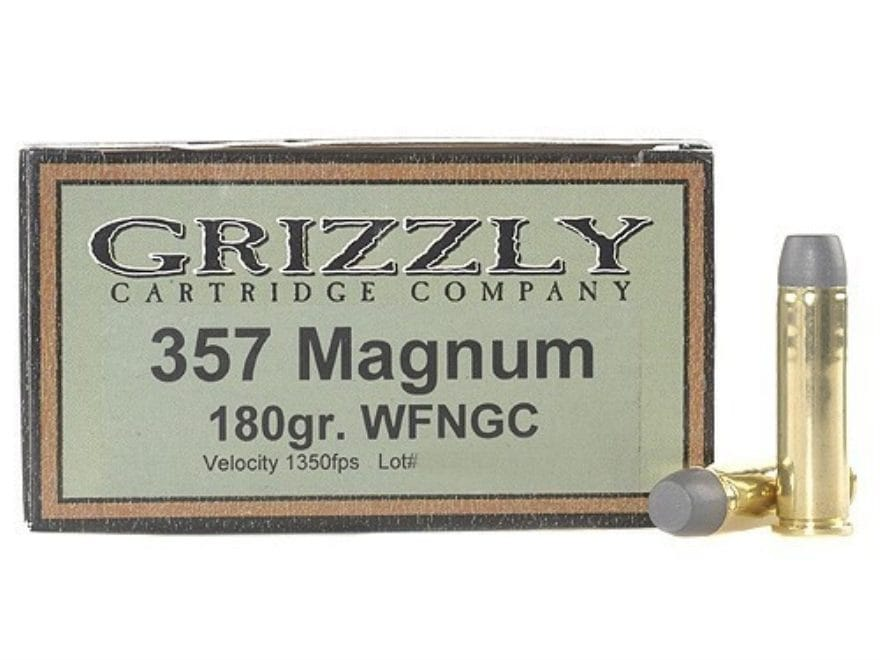 Grizzly Ammunition 357 Magnum 180 Grain Cast Performance Lead Wide Flat Nose Gas Check ...