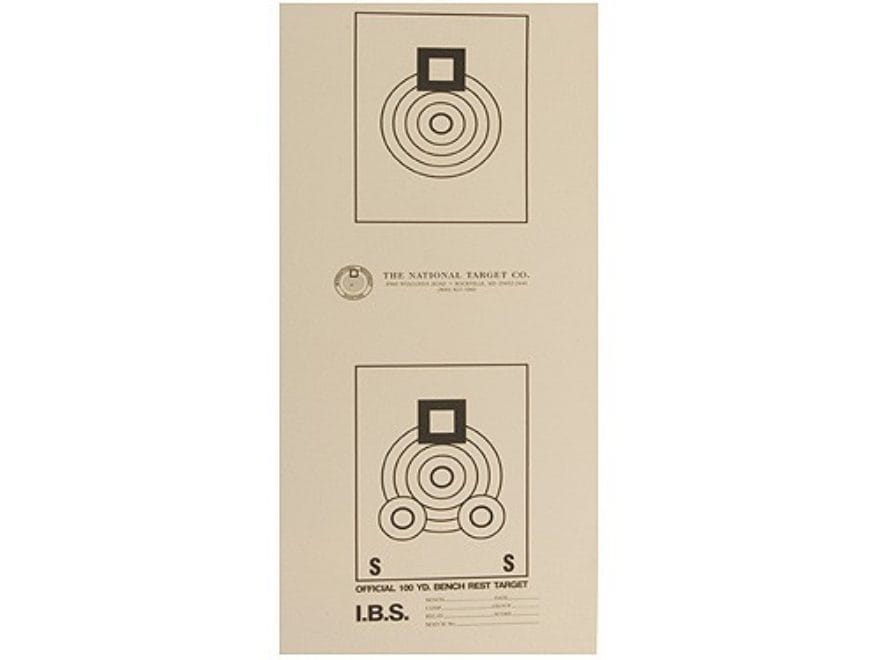National Target International Bench Rest Shooters Target IBS 100 YD Bench Rest Paper Pa...