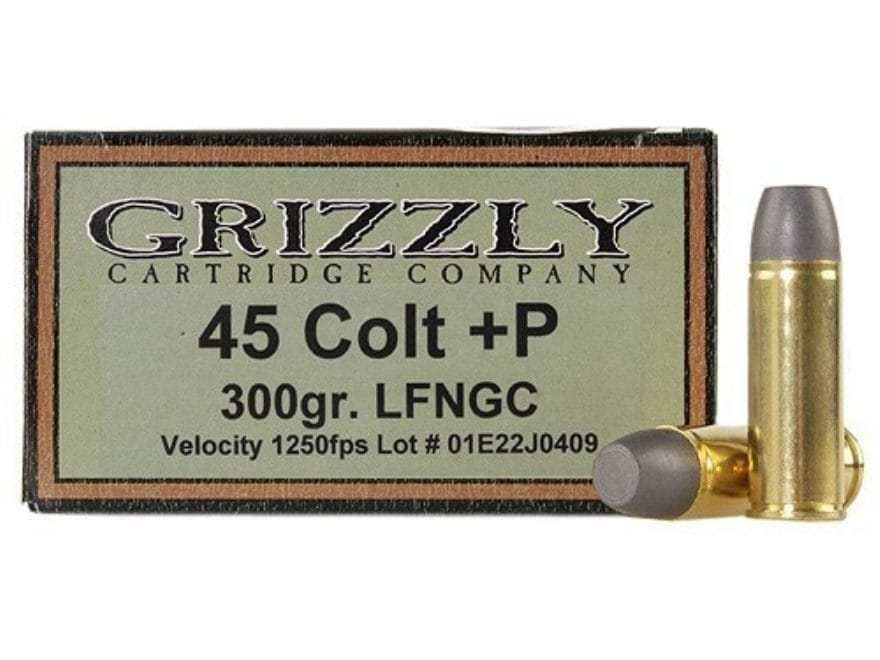 Grizzly Ammunition 45 Colt (Long Colt) +P 300 Grain Cast Performance Lead Long Flat Nos...