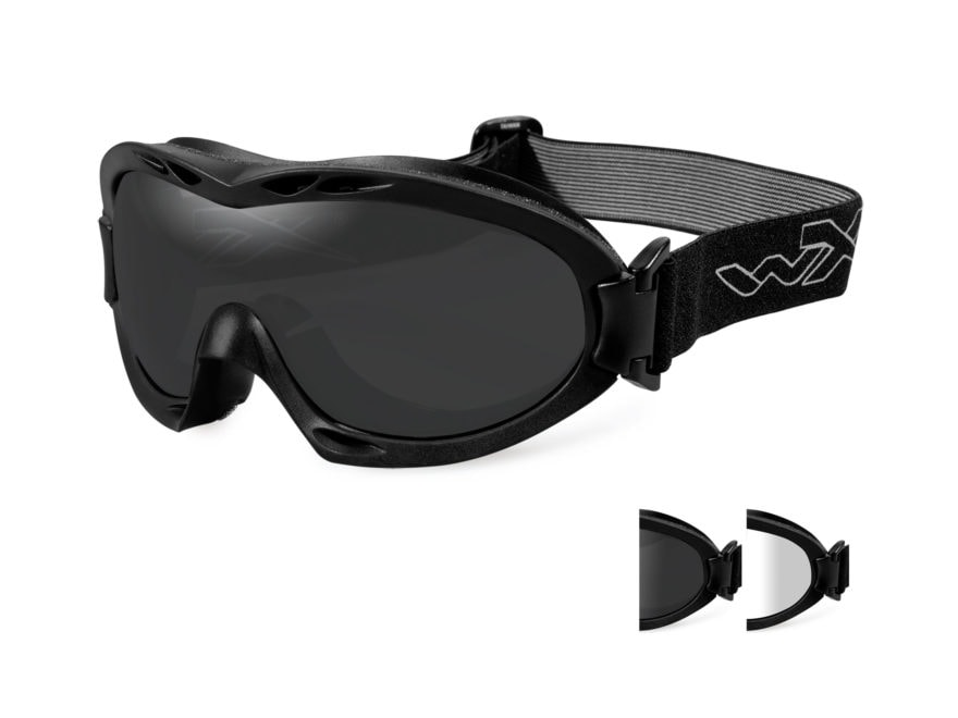 Wiley X Nerve Tactical Goggles Matte Black Frame Clear, Smoke Lenses