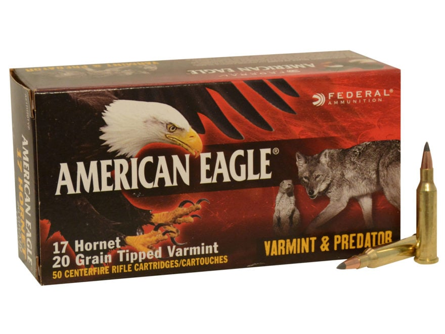 Federal American Eagle Varmint and Predator Ammunition 17 Hornet 20 Grain Tipped Varmin...