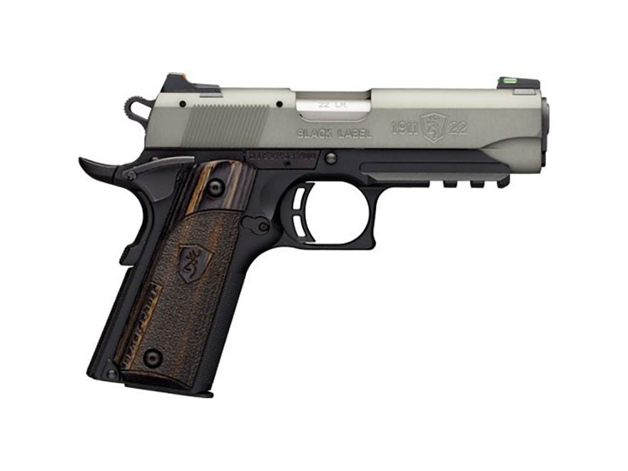 """Browning 1911-22 Black Label Compact Pistol 22 Long Rifle 3.62"""" Barrel with Rail 10-Round"""