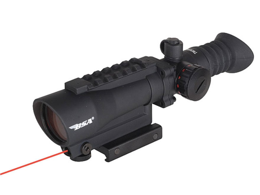 BSA Red Dot Sight 1x 30mm 5 MOA Dot with Integral Laser and Weaver-Style Mount Matte