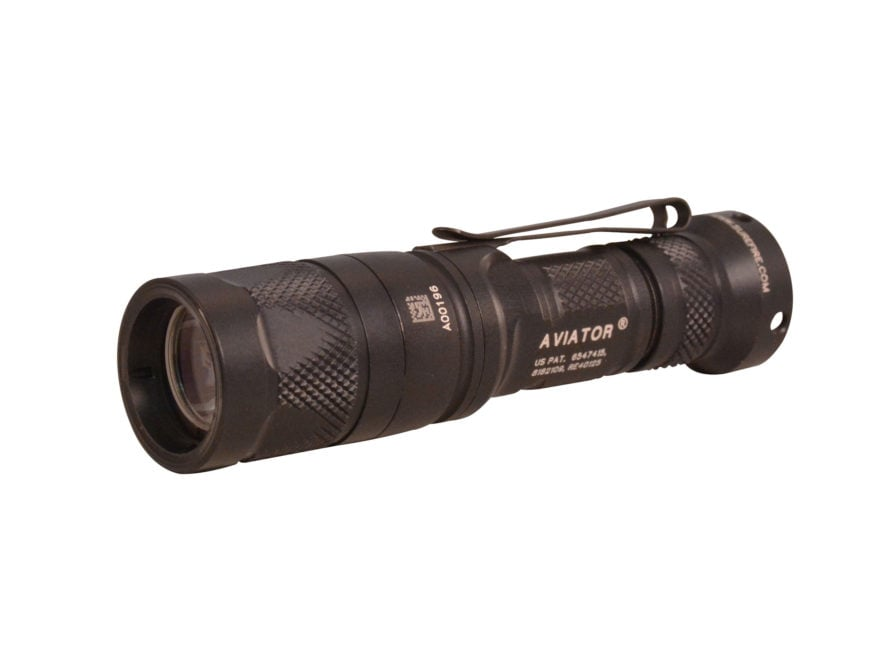 Surefire Aviator Flashlight White and Amber LED with 1 CR123A Battery Click Switch Alum...