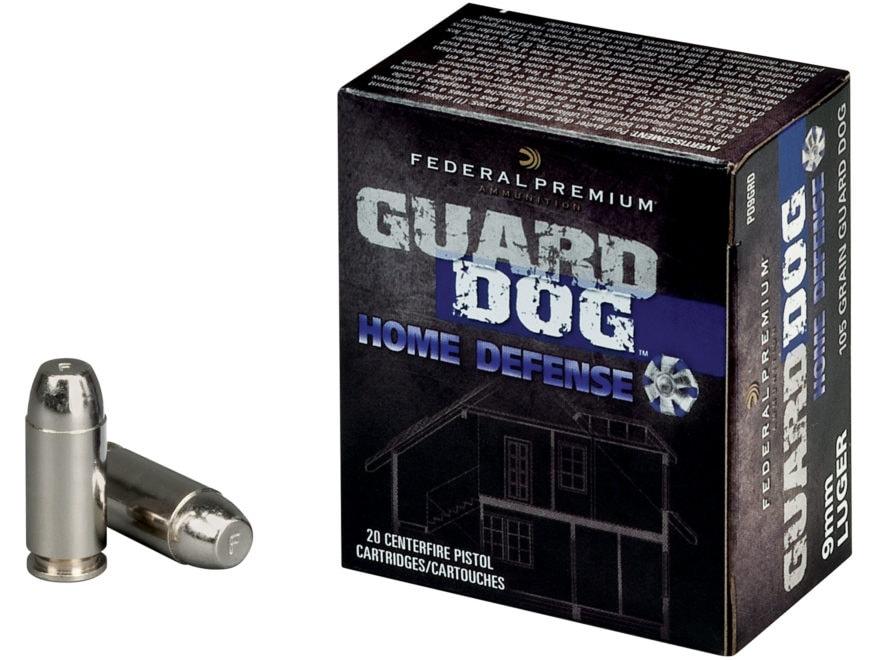 Federal Premium Guard Dog Home Defense Ammunition 9mm Luger 105 Grain Expanding Full Me...