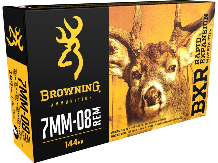 Browning BXR Rapid Expansion Ammunition 7mm-08 Remington 144 Grain Matrix Tip