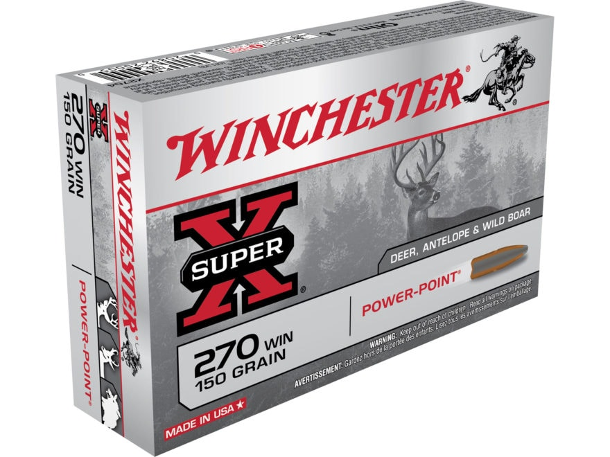 Winchester Super-X Ammunition 270 Winchester 150 Grain Power-Point