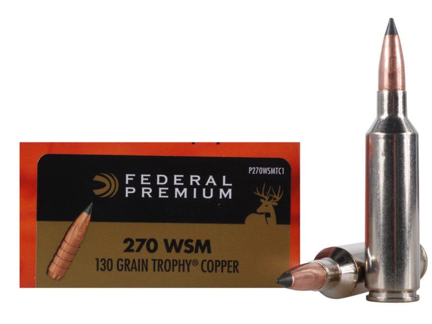 Federal Premium Vital-Shok Ammunition 270 Winchester Short Magnum (WSM) 130 Grain Troph...