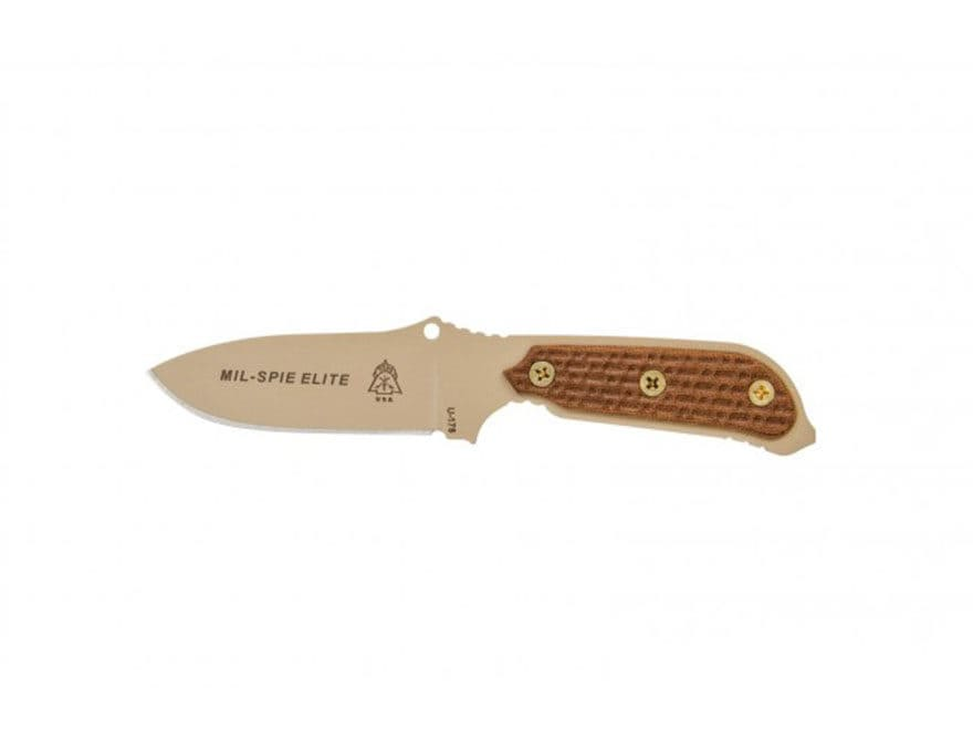 """TOPS Knives MiL-SPIE Elite Fixed Blade Knife 4"""" Coyote Tan Drop Point 1095 High Carbon ..."""