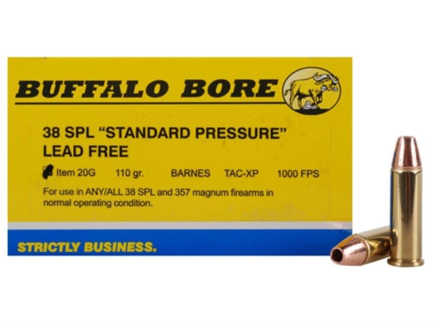 Buffalo Bore Ammunition 38 Special Short Barrel 110 Grain Barnes TAC-XP Hollow Point Le...