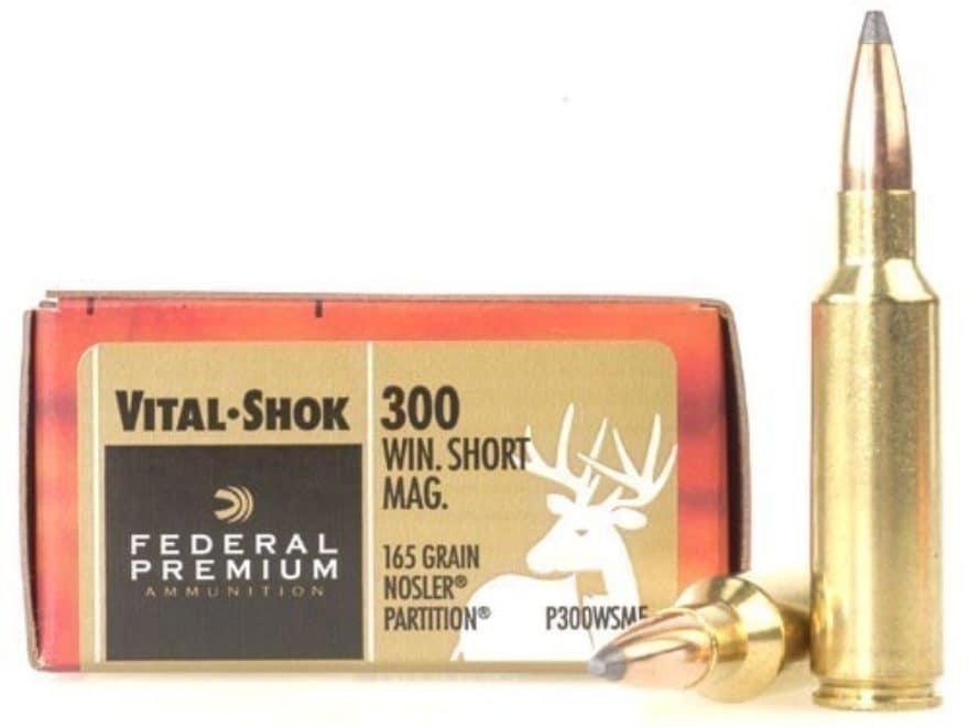 Federal Premium Vital-Shok Ammunition 300 Winchester Short Magnum (WSM) 165 Grain Nosle...
