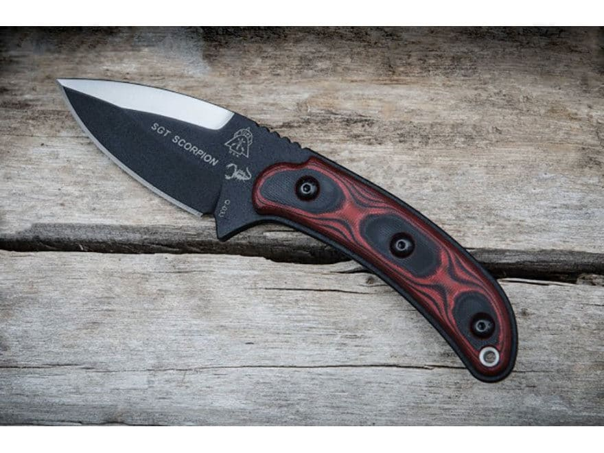 """TOPS Knives SGT. Scorpion Fixed Blade Knife 3.38"""" Spear Point 1095 High Carbon Alloy Bl..."""