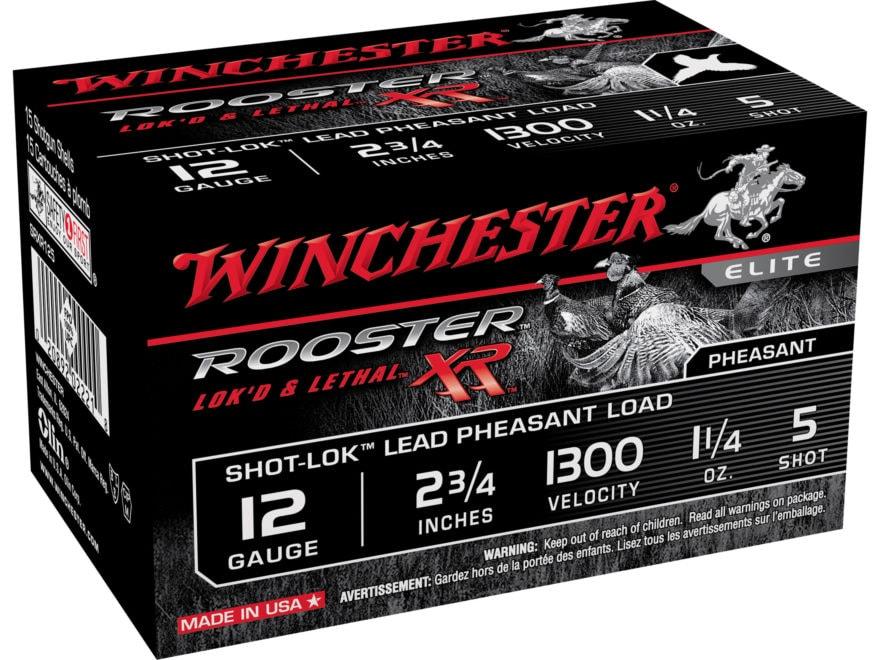 "Winchester Rooster XR Pheasant Ammunition 12 Gauge 2-3/4"" 1-1/4 oz #5 Copper Plated Shot"