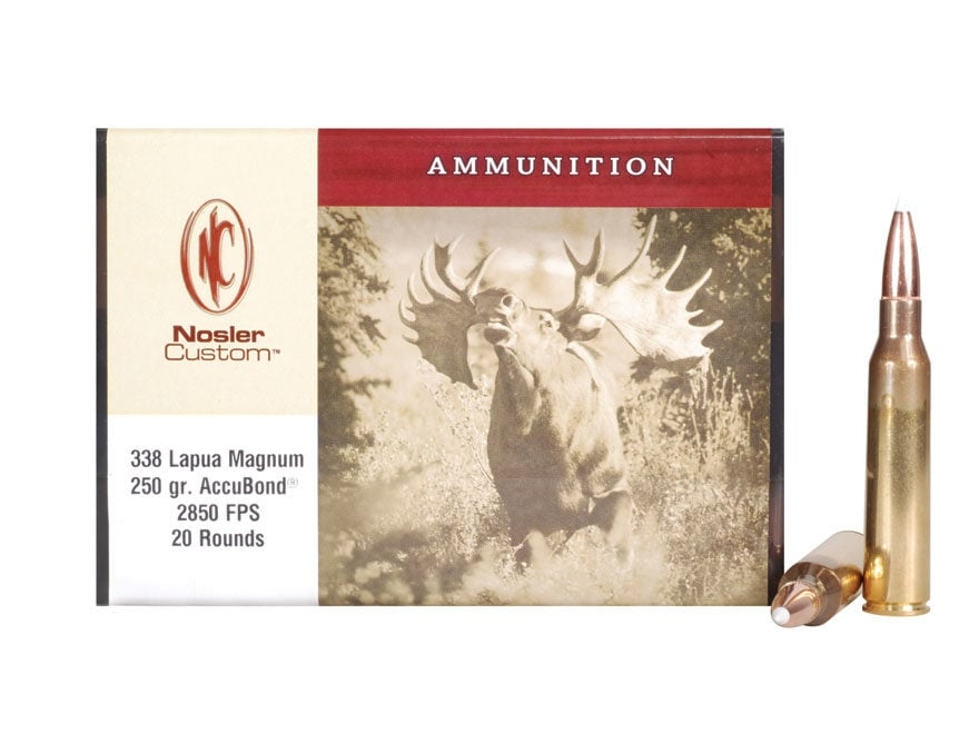 Nosler Custom Ammunition 338 Lapua Magnum 250 Grain AccuBond Box of 20