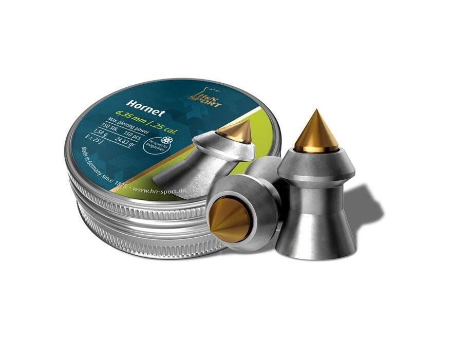 H&N Hornet Pellets 25 Caliber 23.16 Grain Pointed Tin of 150