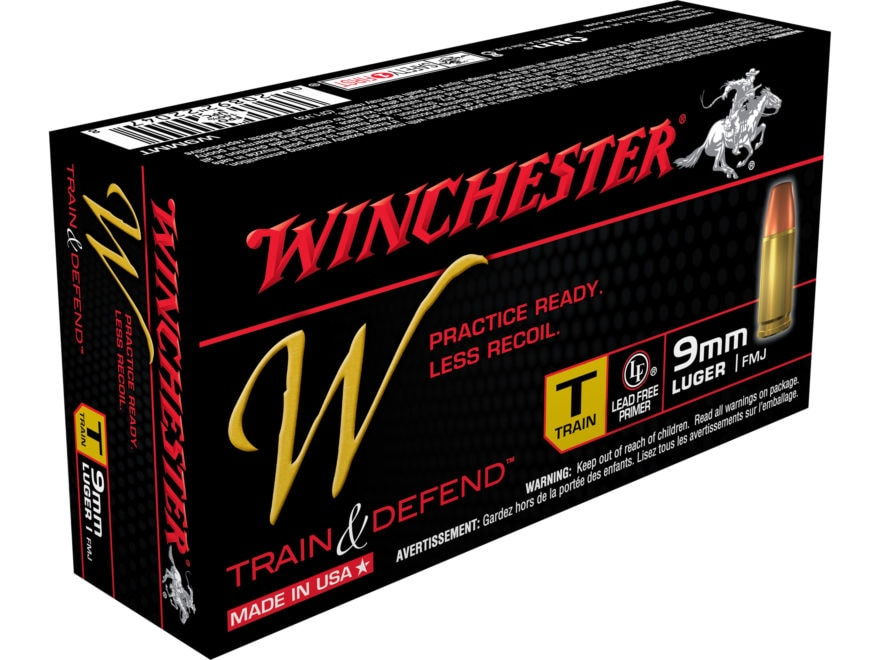 Winchester W Train Reduced Recoil Ammunition 9mm Luger 147 Grain Full Metal Jacket