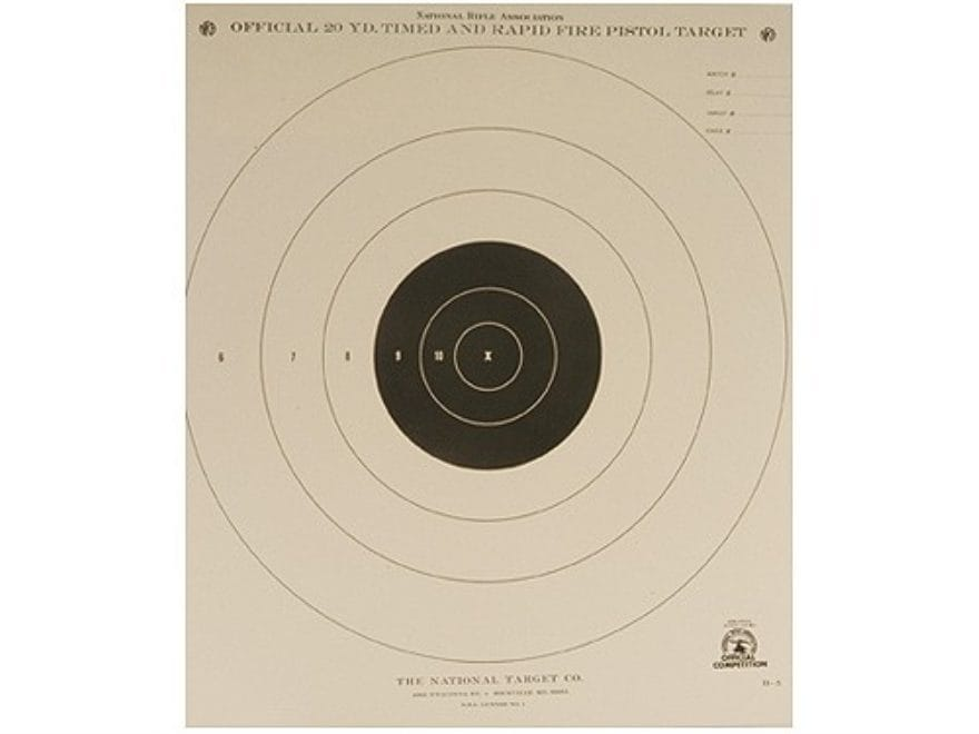 NRA Official Pistol Targets B-5 20 Yard Timed Rapid Fire ...