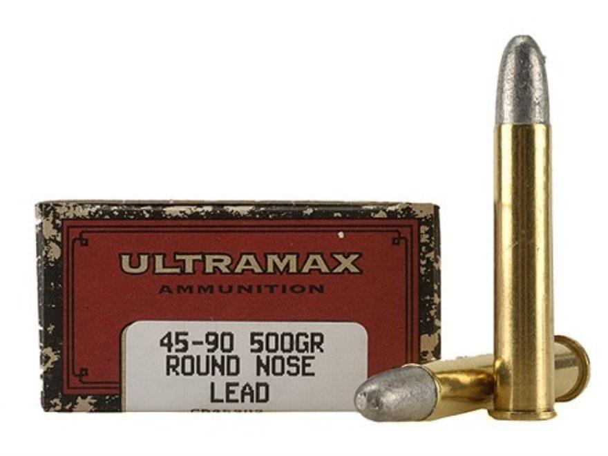 Ultramax Cowboy Action Ammunition 45-90 WCF 500 Grain Lead Round Nose Box of 20