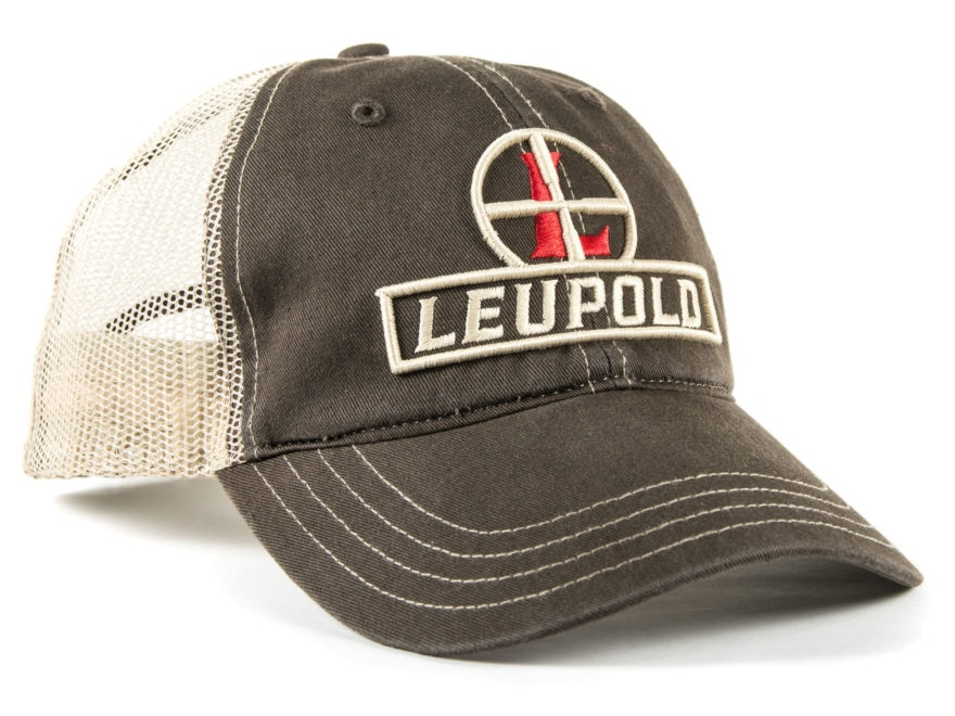 Leupold Reticle Logo Unstructured Trucker Hat Cotton Brown/Khaki