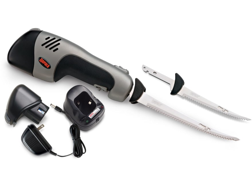 """Rapala Rechargeable Cordless Electric Fillet Knife Set 6"""" and 7.5"""" Reciprocating Stainl..."""