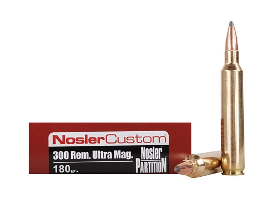 Nosler Trophy Grade Ammunition 300 Remington Ultra Magnum 180 Grain Partition Spitzer B...