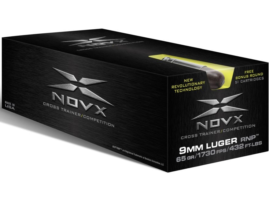 NovX Cross Trainer/Competition Ammunition 9mm Luger 65 Grain RNP Lead-Free