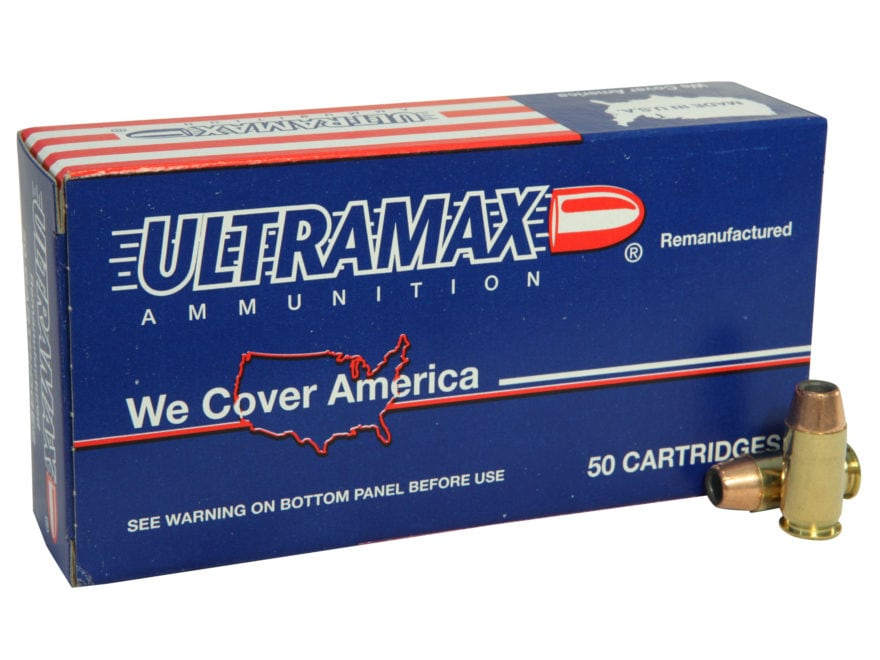 Ultramax Remanufactured Ammunition 45 ACP 185 Grain Jacketed Hollow Point Box of 50