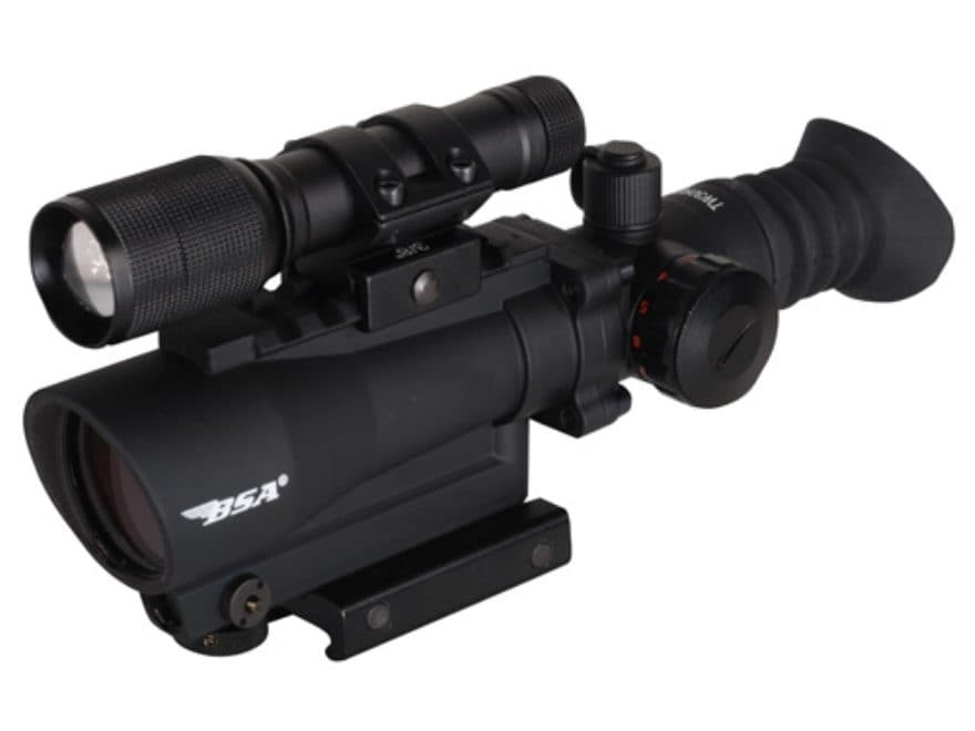 BSA Red Dot Sight 1x 30mm 5 MOA Dot with Picatinny-Style Mount and LED Light Matte